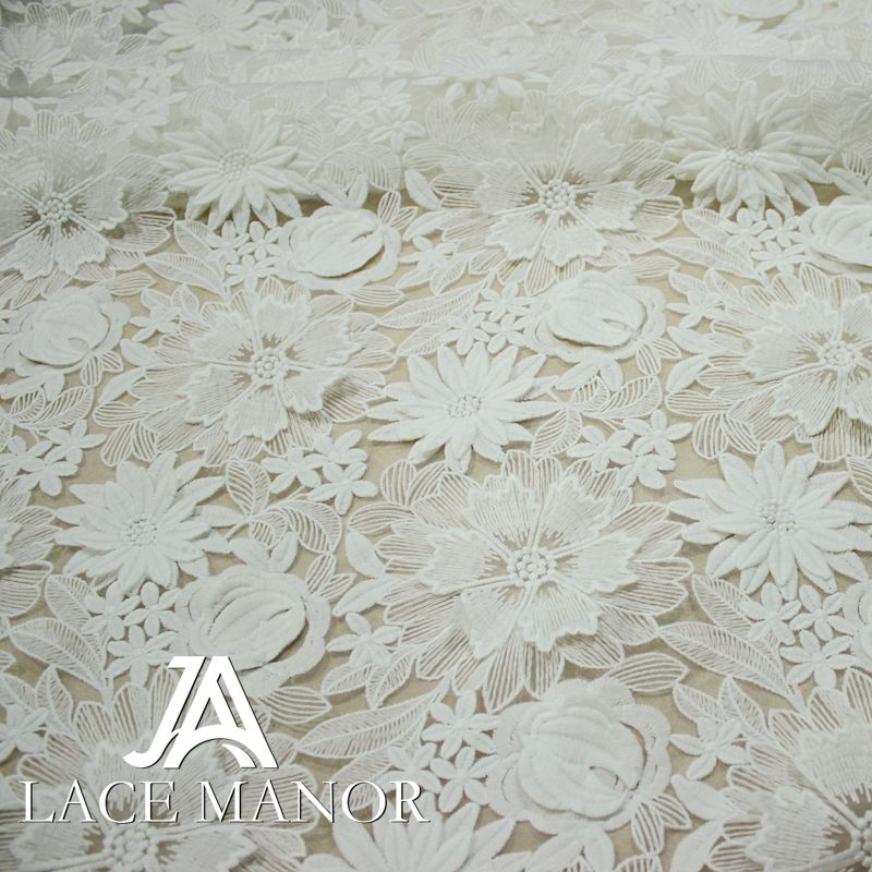 Robe de Haute couture de tissu de broderie d'organza d'applique de tissu de dentelle soluble dans l'eau de 3 d