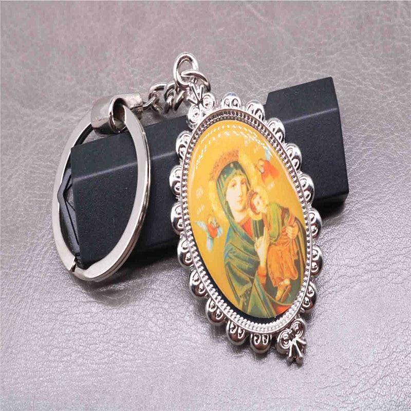 Silver Charm Mary Key Jesus Keychain Catholic Keychain Michael Angel Keychain Handbag Gift Accessories in Key Chains from Jewelry Accessories