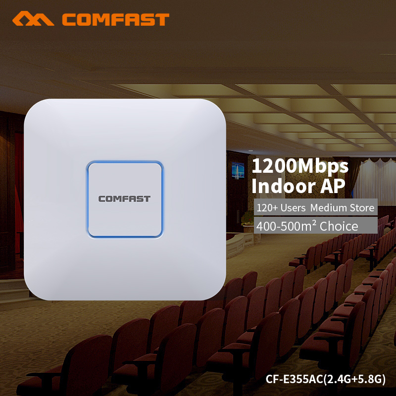 COMFAST 1200Mbps 5G AP WiFi Router English Firmware 2.4G + 5Ghz Gigabit Smart Wireless Router For Conference Project Hotel Use comfast full gigabit core gateway ac gateway controller mt7621 wifi project manager with 4 1000mbps wan lan port 880mhz cf ac200