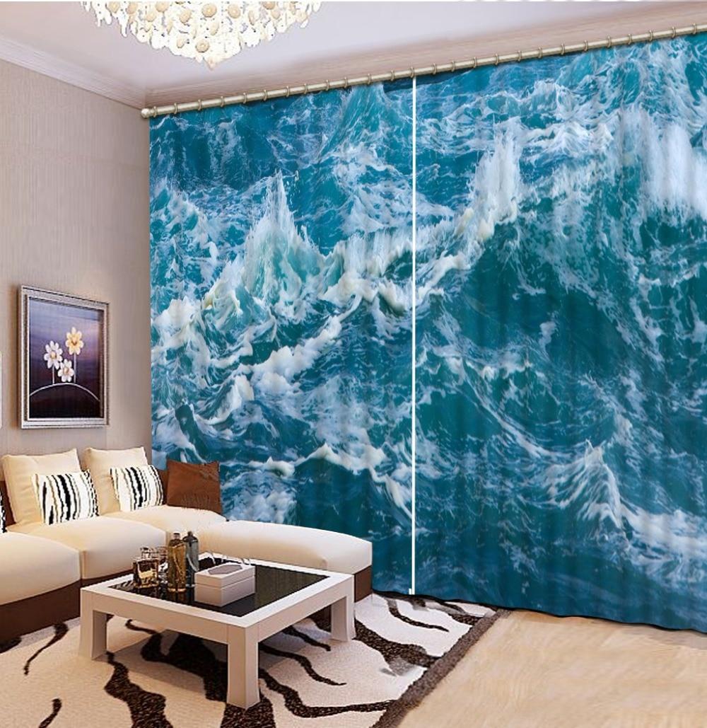 Cortinas 3d Sala de estar Arte natural Cortinas de playa para sala de - Textiles para el hogar