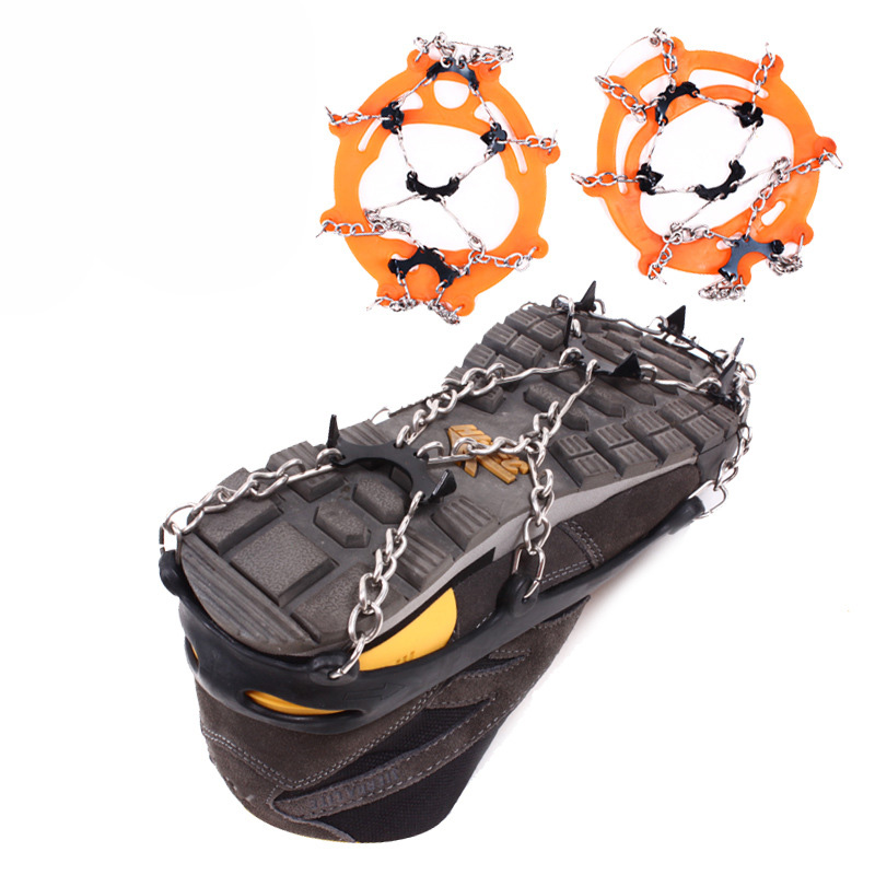 8 Teeth Non-slip Claws Ice Crampons Manganese Steel & Stainless Steel Gripper Ski Snow Cleats Hiking Climbing Shoes Chain Cover round snow ice climbing mountaineering shoes crampons orange pair