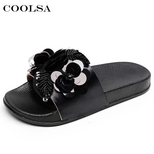 bf029d2543478 Coolsa Summer Women Beach Slippers Flowers Bling Sandals Flat Non Slip  Sequins Ladies Jelly Slides Home Flip flops Casual Shoes