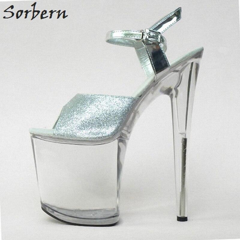 Sorbern 20CM Women Sandals Shoes Plus Size 35-46 Sandales Femme 2018 Platform Shoes Sandals Summer Shoes Women Clear Heels