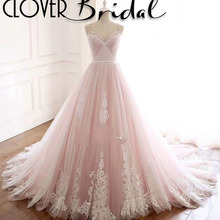 CloverBridal elegant princess wedding dress chapel train