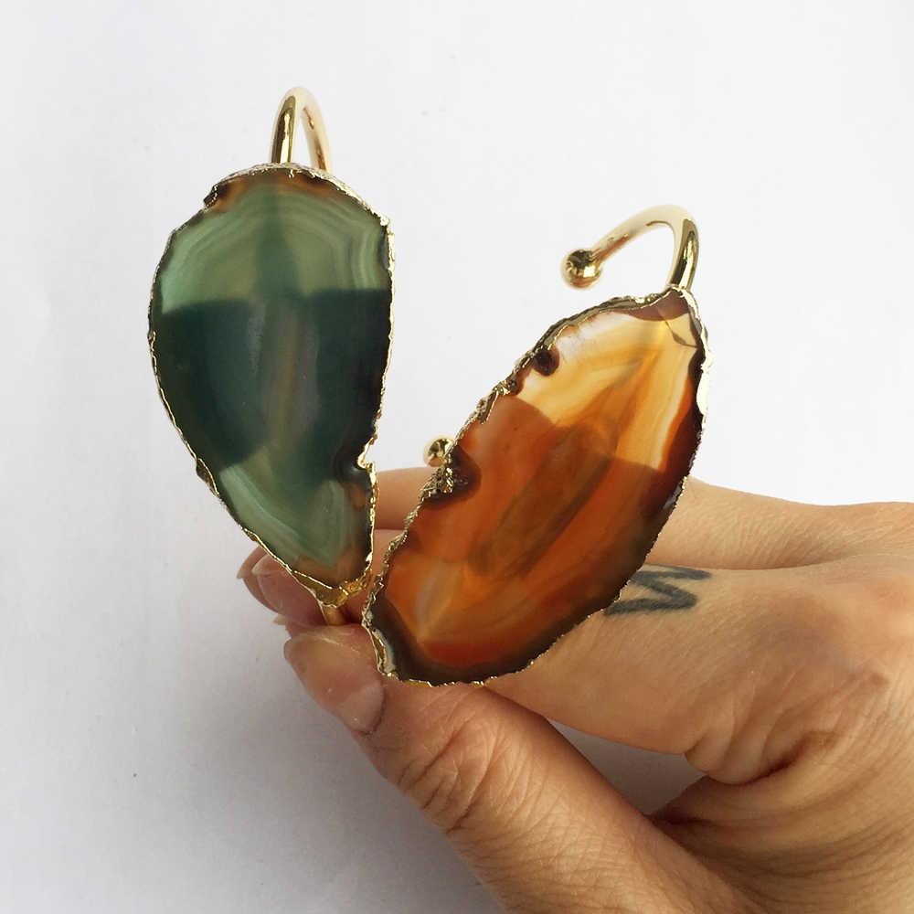 BOROSA ธรรมชาติไม่สม่ำเสมอ Slice Agates กำไลข้อมือทองแดงทองแดง - สีหินขนาดใหญ่ Agates เครื่องประดับกำไลข้อมือผู้หญิง WX1053