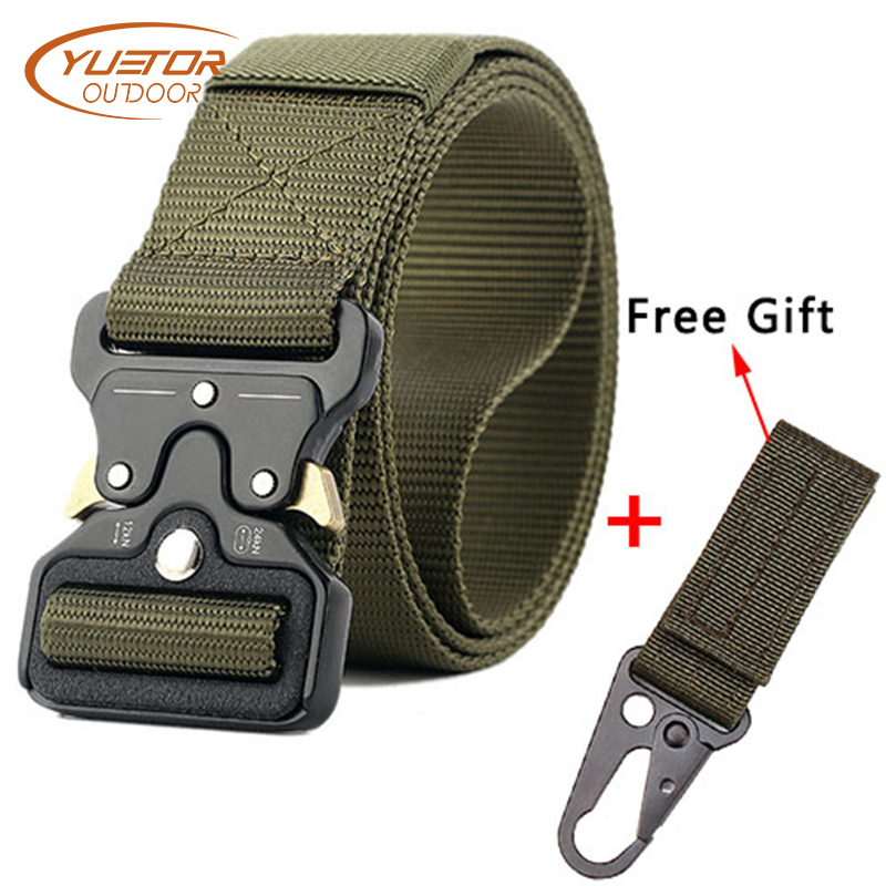 YUETOR OUTDOOR Multifunction Tactical Belt Men Military belts 125CM Length 3.8CM Width Army Fans Training Nylon Belt with Buckle multifunction tactical belt men s military belts 125cm length 3 8cm width army fans outdoor training nylon belt with buckle