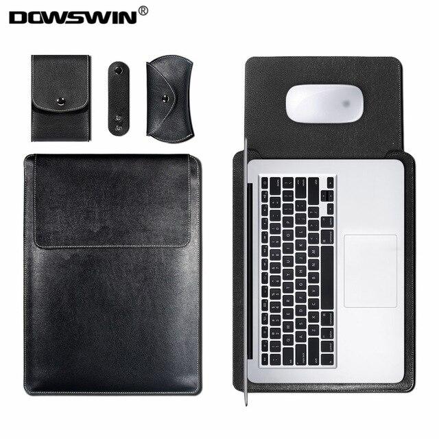 DOWSWIN Manches Sac Cas pour Macbook Air 13 11 Retina 12 13 15 pouce Pro 13 15 Ordinateur Portable PU En Cuir couverture Sac pour Macbook Wateproof