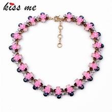 Kiss me новый дизайн мода ювелирные изделия смолы камень цветы подвеска себе ожерелья & кулон 2017
