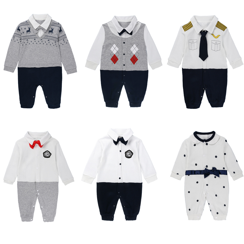 0-18 month newborn baby boy clothes autumn bebes costume cotton long sleeve jumpsuit red gentleman romper