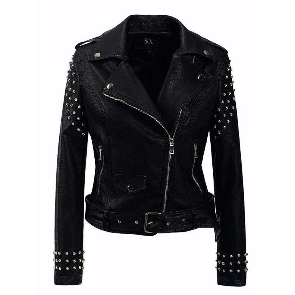 Для женщин модная куртка из искусственной кожи Черный Новый осень тонкий в стиле Панк нагрудные молнии заклепки поясом для девочек Красивы...