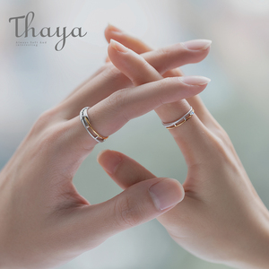 Image 3 - Thaya Train Rail Design Moonstone Lover Rings Gold and Hollow 925 Silver Eleglant Jewelry for Women Gemstone Sweet Gift