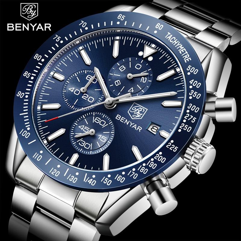 BENYAR Mens Watch Business Full Steel Quartz Watch