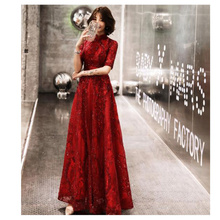 It's YiiYa Women Party Dress 2019 Lace Up Backless Sequine Long Evening Dress Binding High Collar Robe de Soiree Plus Size E489