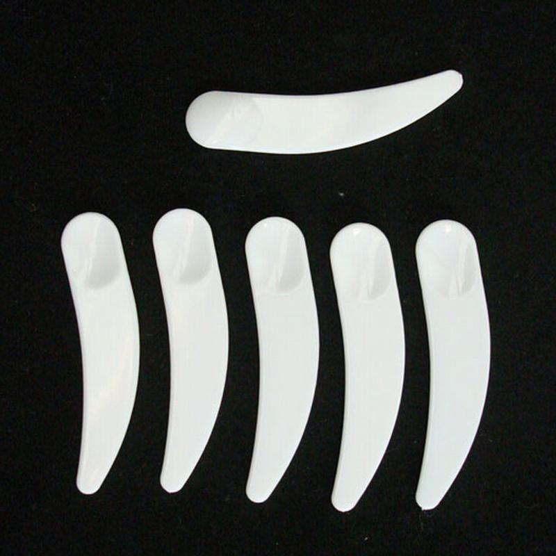 50 Pcs/lot Mini Cosmetic Spatula Scoop Disposable Mask White Plastic Spoon Makeup Maquillage Tools Wholesale