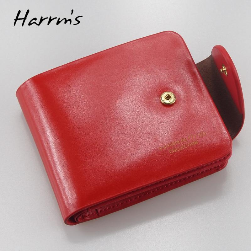 Harrm's Marka Klasik Moda hakiki deri kadın cüzdan kısa kırmızı - Cüzdanlar - Fotoğraf 2
