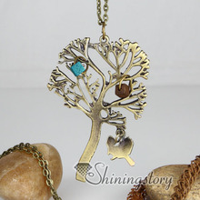 Brass bronze copper antique style tree pendant long chain necklaces for men and women unisex cheap fashion jewelry