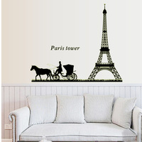 Removable Luminous Wall Stickers Paris Tower Romantic Bedroom Simple Background Decorative PVC Sticker ABQ9624