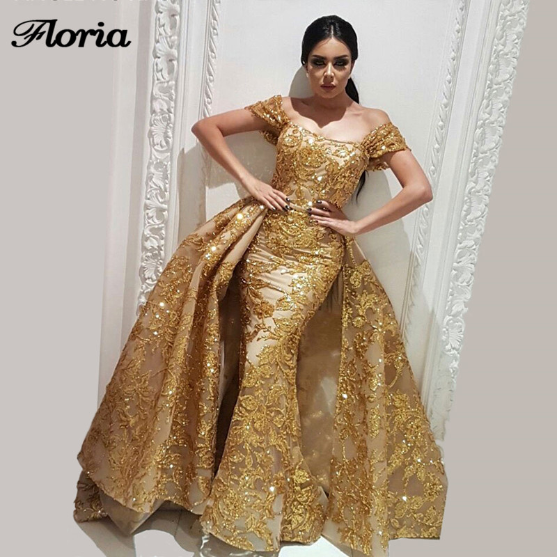 New Couture Dubai Sparkly Gold   Evening     Dresses   With Detachable Skirt Robe de soiree Aibye Muslim Turkish Prom Gowns Abendkleider