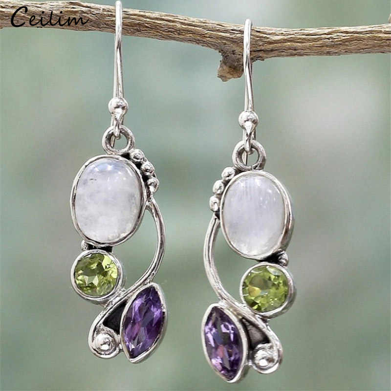 Luxury Design Labradorite Earring Women Vintage Fashion Silver Color Crystal Natural Stone Drop Earring Wedding Jewelry 2019 New