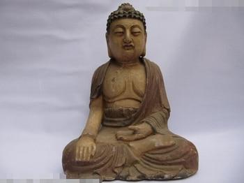 Coleccionable de bronce estatua del león S0328 Templo Folk Chino Viejo trabajo hecho a mano de madera tallado Sentarse RuLai Sakyamuni Buddha Estatua (B0328)