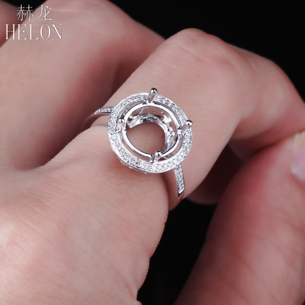 HELON Solid 14K (585) White Gold 9-11mm Round Cut Semi Mount Pave Real Diamonds Ring Engagement Wedding Ladies Fine Jewelry Ring