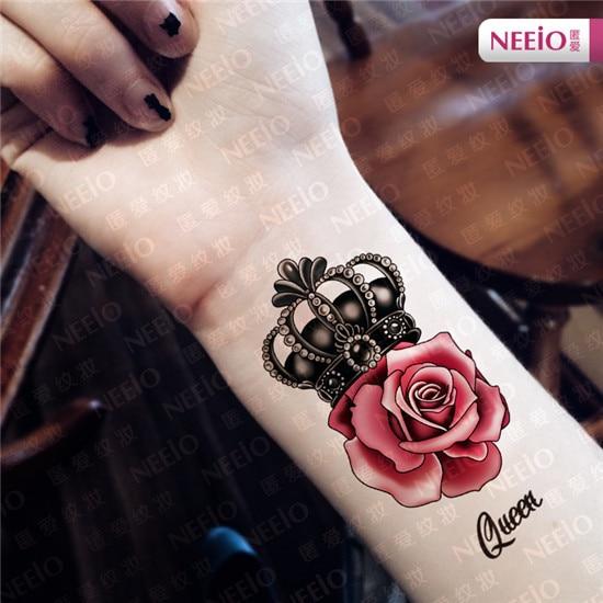 ani100 neeio tatouage temporaire luxe roi reine rose autocollant de tatouage couronne main arm. Black Bedroom Furniture Sets. Home Design Ideas