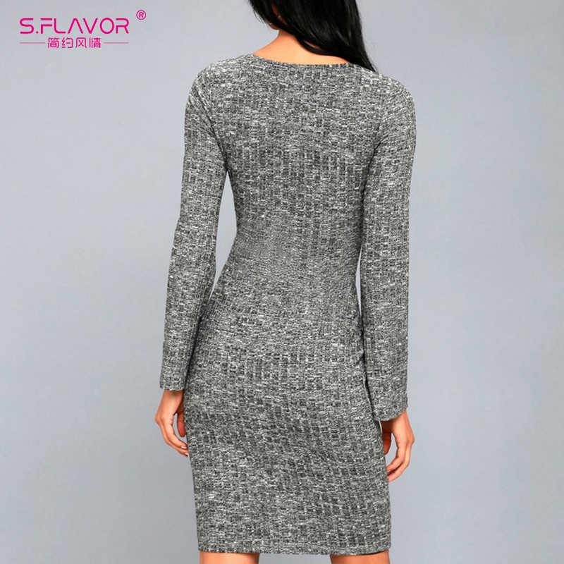 S. FLAVOR серая женская одежда Мини платье для ночного клуба стиль сексуальный v-образный вырез низ vestidos 2019 Весна Лето длинный рукав трикотажное платье