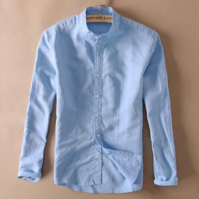 66f97a99d7b WMSHUO Men White Linen Shirt Stand Collar Chinese Traditional Mandarin  Collar Cotton Dress Shirt Long Sleeve