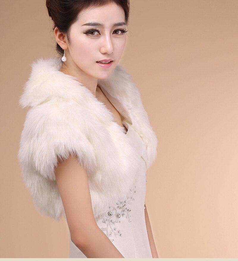 nouveau pas cher hiver chaud noir blanc ivoire en fausse fourrure manteau de mariage enveloppes nuptiales - Bolero Fourrure Mariage Pas Cher