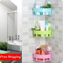 Bathroom Double Suction Cup Fan-shaped Corner Holder Seamless Storage Rack Wall Shelf 3 Pieces/Lot