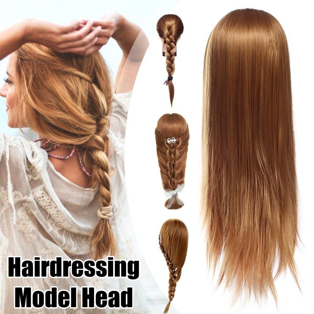 Tête d'entraînement pour cheveux modèle de coiffure pratique tresse soufflant modèle de Salon de coiffure longueur de cheveux 60 cm avec pince tête de Mannequin femme