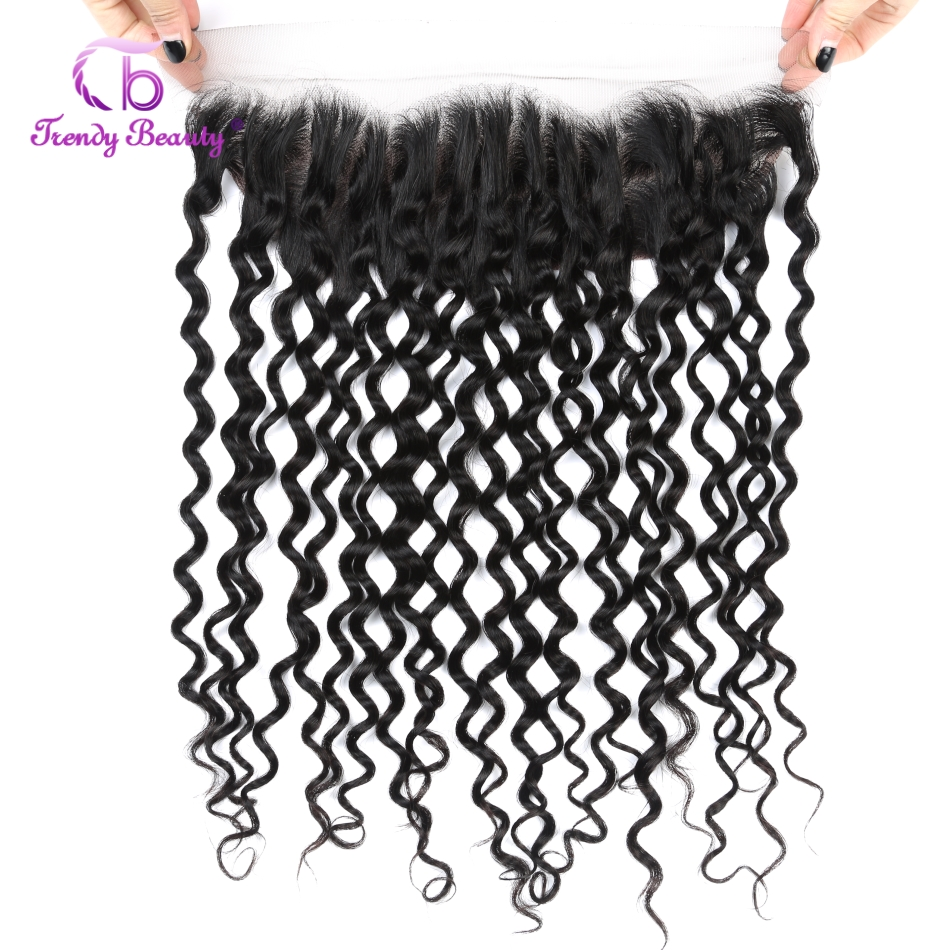 Brazilian Water Wave Ear to Ear Pre Plucked Frontal Closure 13x4 Lace Frontal Natural Black Color Non-remy Trendy Beauty Hair