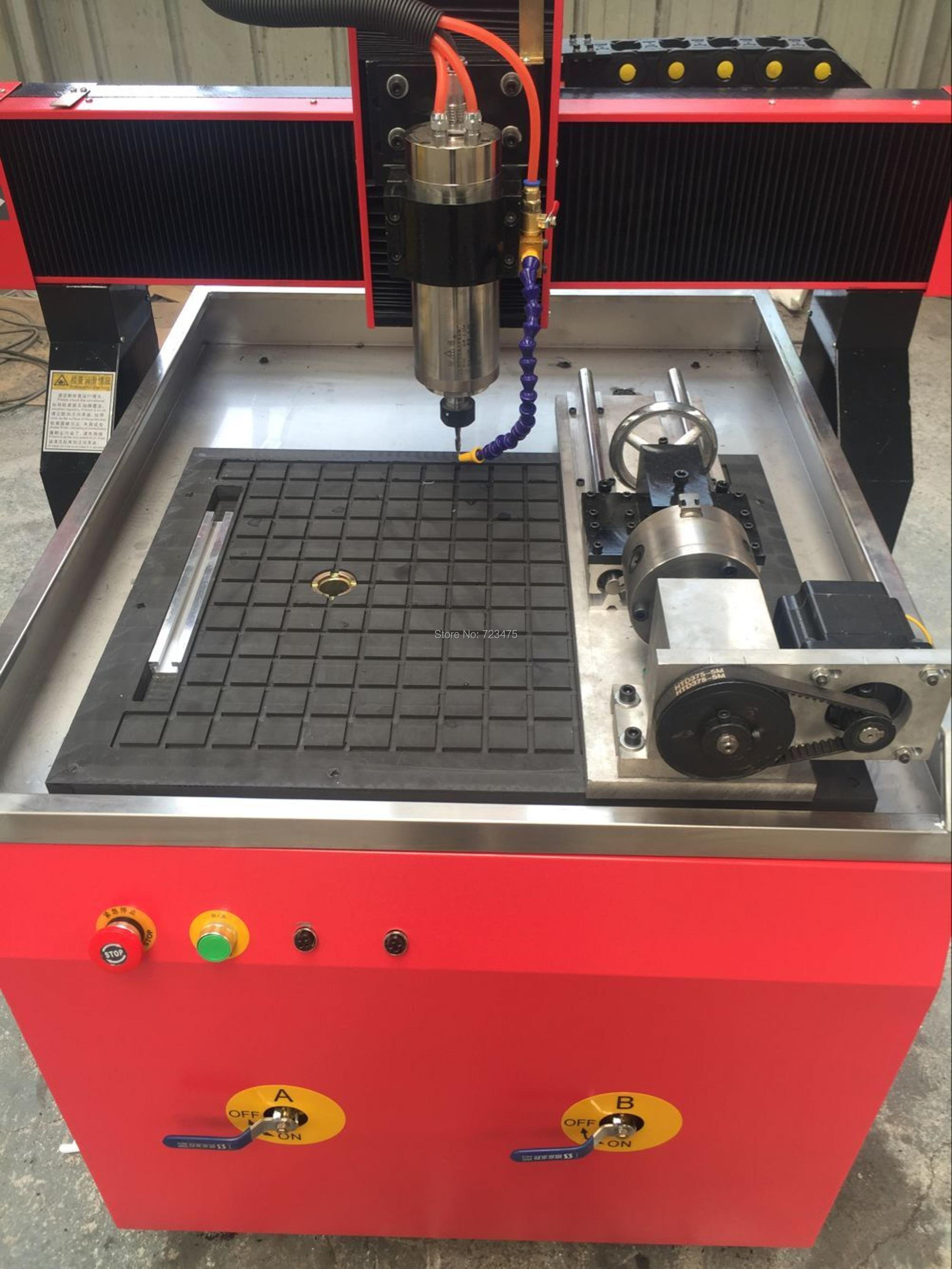 China Workshop supply T-slot table 4 axis rotary cnc router 6090 mini cnc router rtm 6090 with t slot vacuum table