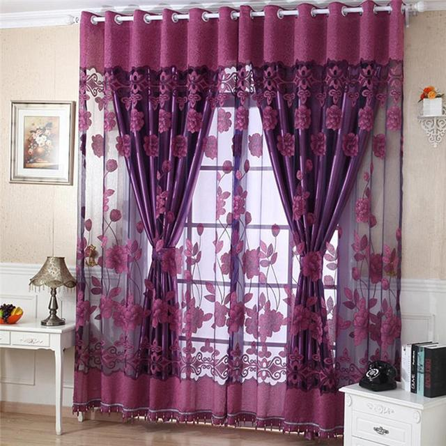 Charmant Flower Print Tulle Sheer Door Window Decor Curtains Drape Scarf Valance  Curtains And Tulle Curtains For