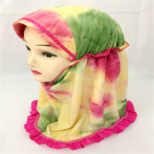 12PCS 2017 New Style Lovely Flowers Small Girls Muslim Hijab Kids Islamic Scarf Arab Amira Ramadn Headwear
