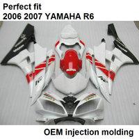 Injection molded fairing body kit for Yamaha YZF R6 2006 2007 white red black motorcycle fairings set YZFR6 06 07 BN11