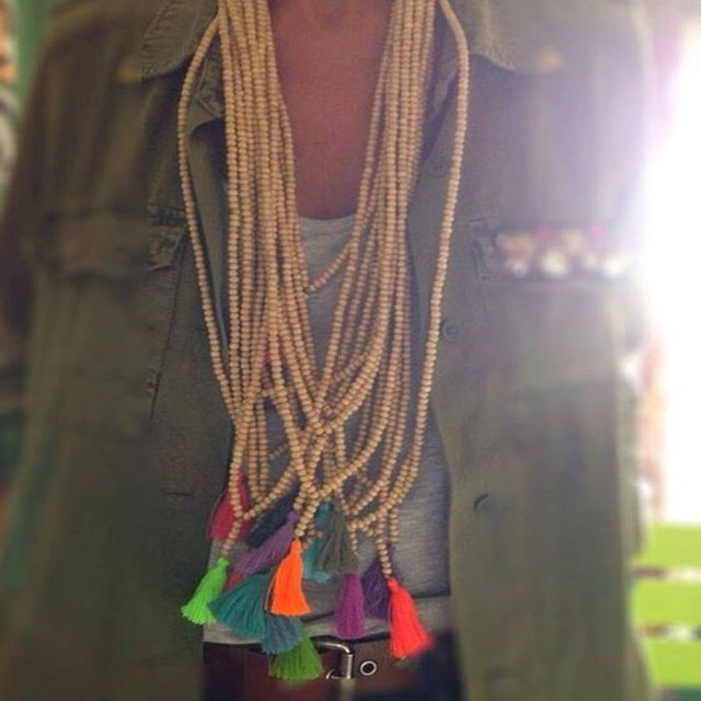Bohemian style tassel necklace wooden beads retro long necklace ladies fashion h