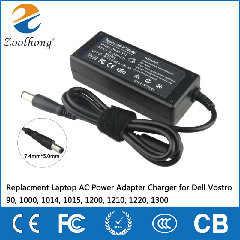 Zoolhong Adapter Industrial Company 19.5V 3.34A 7.4mm*5.0mm Replacment Laptop AC Power Adapter Charger for Dell Vostro 90, 1000, 1014, 1015, 1200, 1210, 1220, 1300