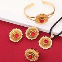 Newest Big Size 3cm Cross Rhinestone Ethiopian Habesha African Bridal Jewelry Sets For Women