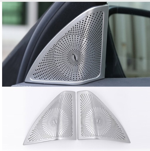 Chrome Door Audio Speaker Cover Frame Trim For Mercedes Benz C Class W205 C180 C200 C300 2015 2016 Car Styling Accessories bjmycyy stainless steel exhause air filter 2 to 4 cover car accessories for mercedes benz c class sedan w205 c200 c180 2015 2016