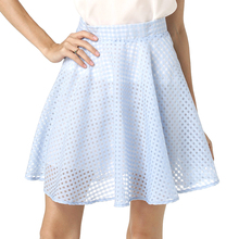 Starlist woman High Waist A Line Sexy hollow out organza skirt elegant above knee blue skirt