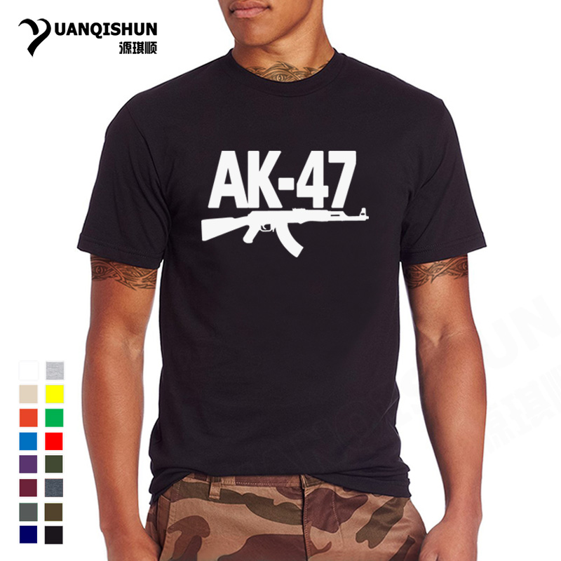 Men Boutique 16Colors Cotton   T     Shirt   Top quality AK-47 Gun Print   T  -  shirt   Kalashnikov AK47 Men's Tshirt Fashion Hiphop Street Tee