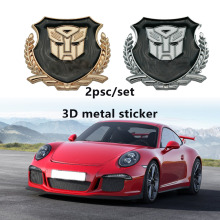 2pcs 3D Auto Man Transformers Logo Metal Car Chrome Emblem Badge Decal Door Window Body Decor For Jaguar Hubcap Audi BMW