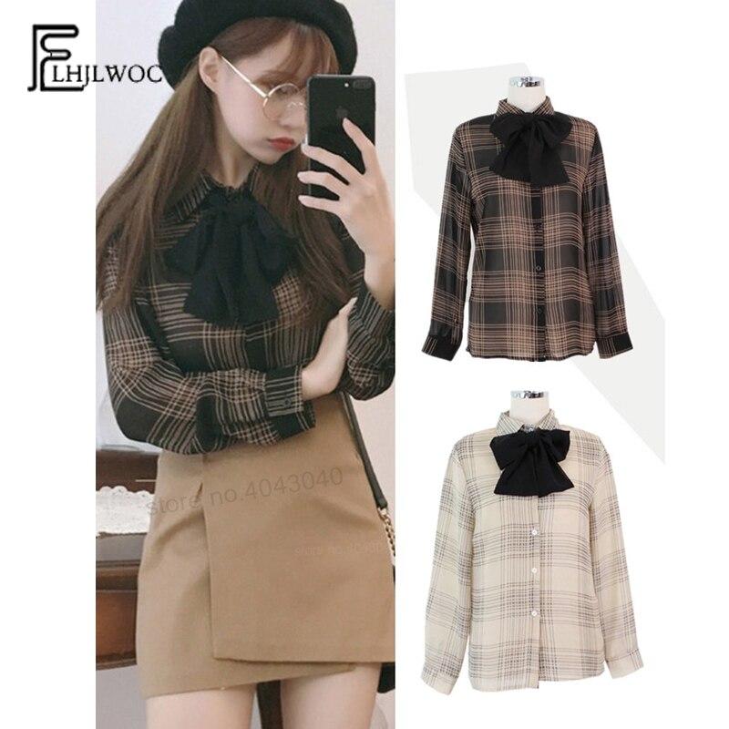 Chiffon   Blouses     Shirts   Women Fashion Japan Korean Preppy Style Long Sleeve Autumn Fall Basic   Shirt   Cute Sweet Bow Tops 843