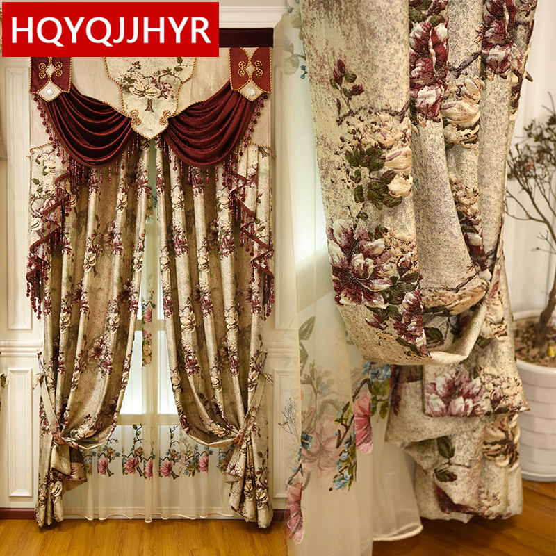 Europe And America's Top Luxury 4D Jacquard Villa Curtains For Bedrooms With High Quality Embroidered Tulle For Living Room