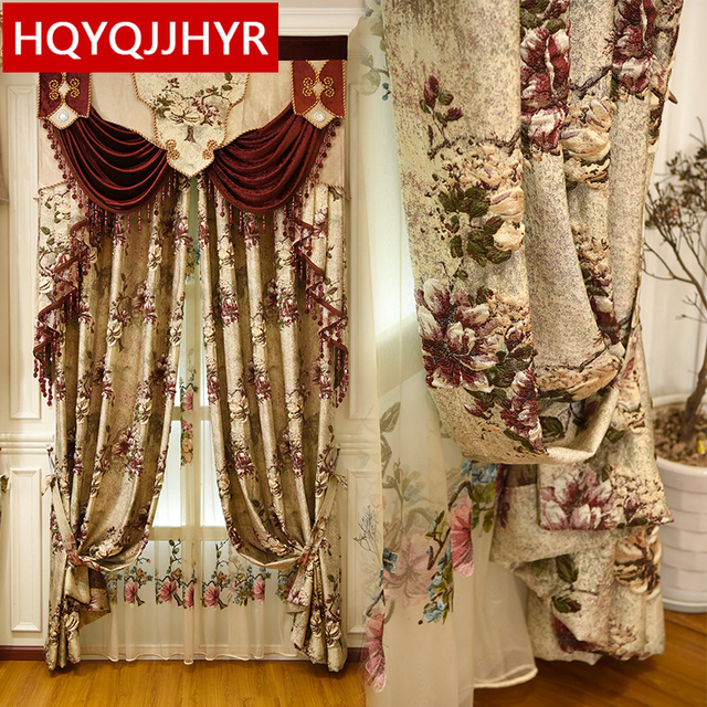 Europe and Americas top luxury 4D jacquard villa curtains for Bedrooms with high quality embroidered tulle for Living Room