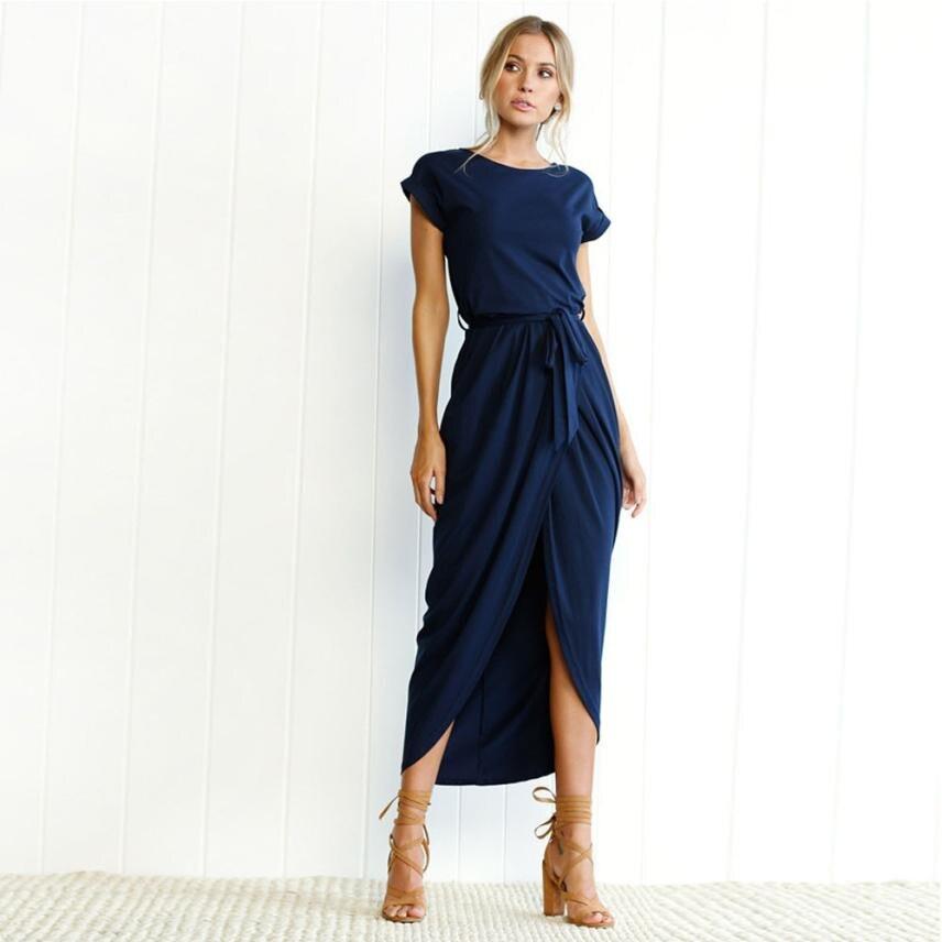 beau look Prix de gros 2019 sortie d'usine € 10.89 22% de réduction T shirt décontracté robe femmes 2018 été coton  longue Maxi robe soirée robe d'été plage robes femmes côté Split vestidos  ...