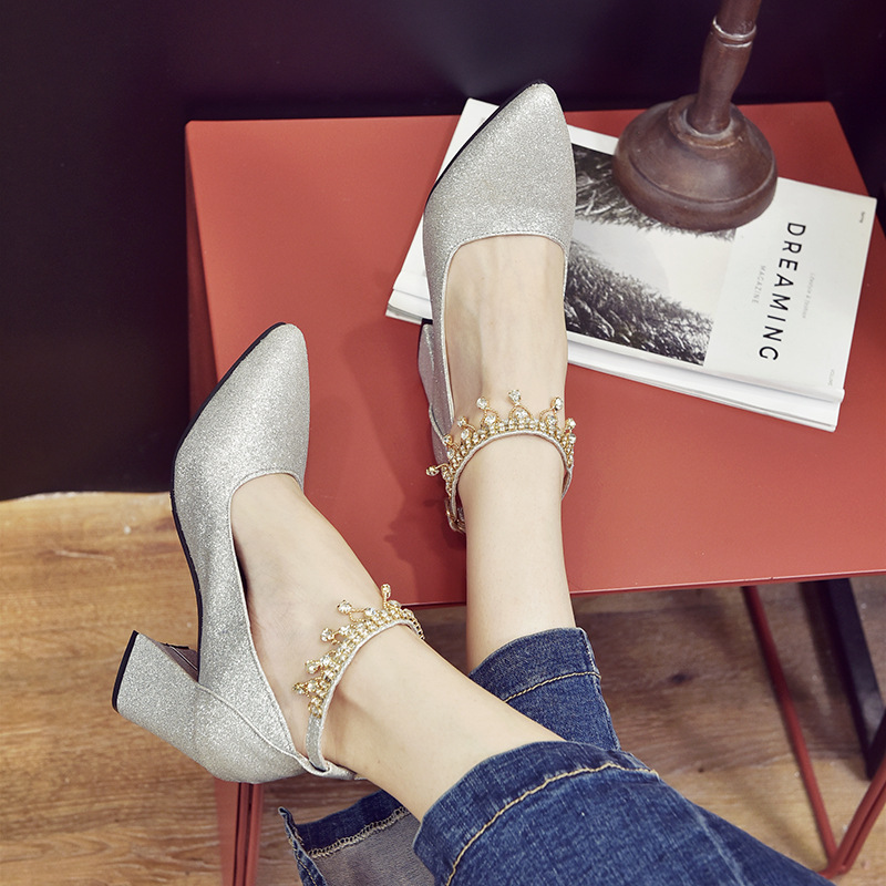 New Korean Version Of Bead-pointed Sequins For Shallow-mouthed Wedding Shoes, Thick-heeled Single-woman Shoes, High-heeled Shoes 18