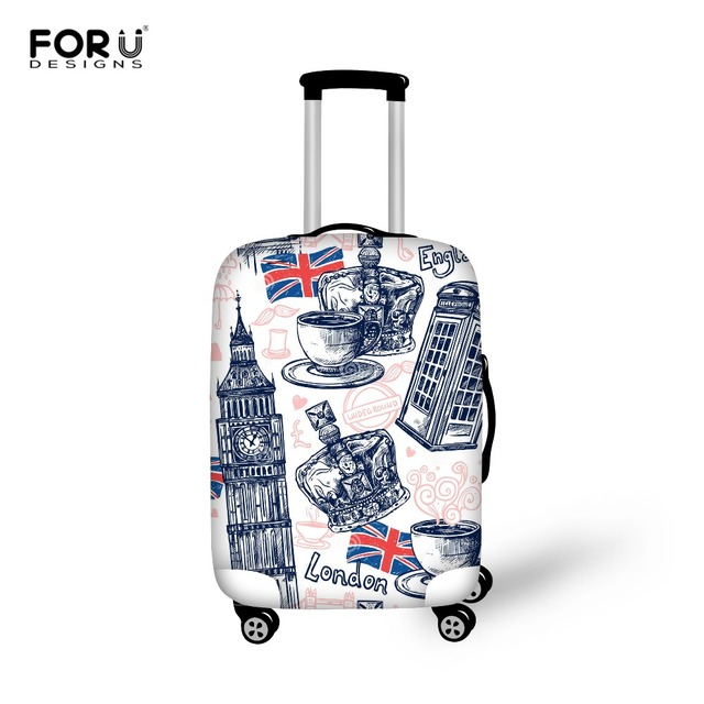 Thick London Pattern Travel Luggage Protective Dust Cover to 18/20/22/24/26/28/30 inch Case Elastic Waterproof Suitcase Cover