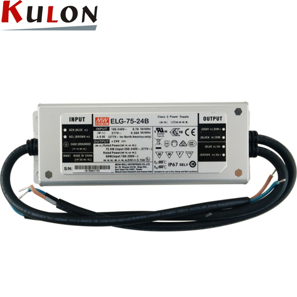 цена на Original MEAN WELL dimming LED driver ELG-75-24B 75W 3.15A 24V mean well waterproof Power Supply ELG-75 B type IP67